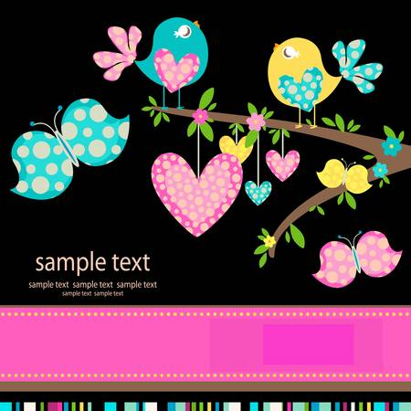 spring birds in love Vector