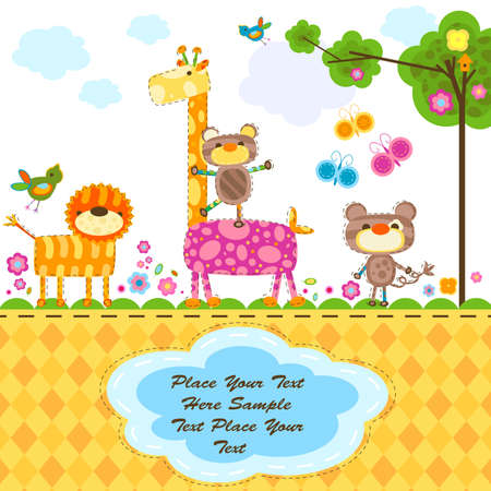 cute animals, greeting card background  photo