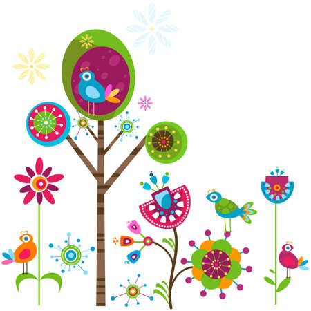 whimsical: whimsy flower tree and birds