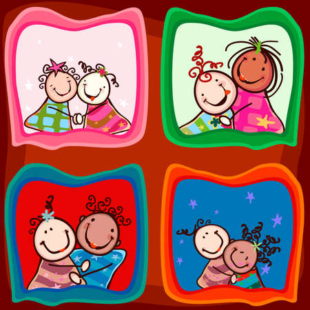 nice hair: couples happy kids with smiling faces in photos Stock Photo