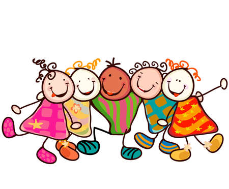kids dress: group of smiling kids with funny faces