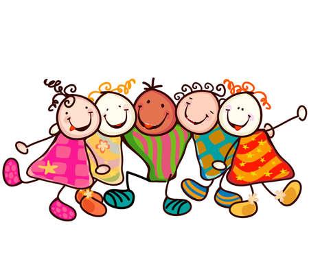 caras chistosas: grupo de ni�os sonrientes con caras graciosas Foto de archivo