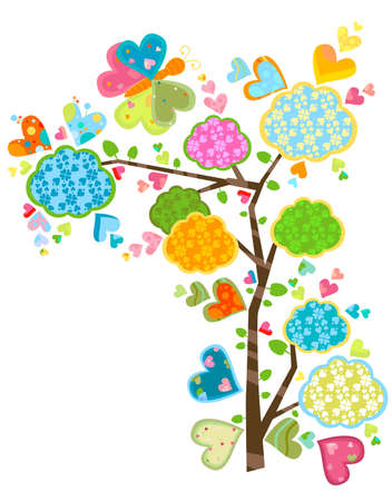 sweet floral tree and butterflies Stock Photo - 12646151