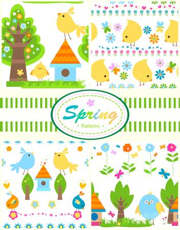 4 spring patterns set for babies Vector