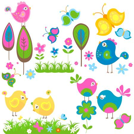 chicks: spring elements set Illustration