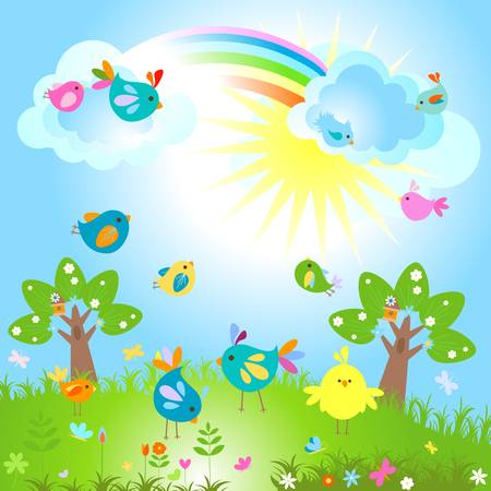 spring sunny day with cute birds  Vector
