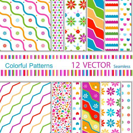 12 colorful patterns  seamless  Stock Vector - 12496373