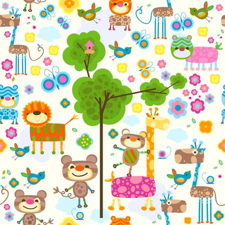 animals seamless background Stock Vector - 12496470
