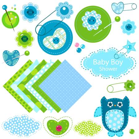 baby boy shower elements set Ilustracja