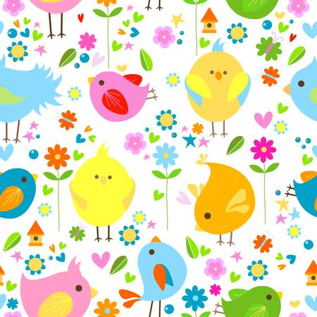 spring cute birds seamless background Ilustracja