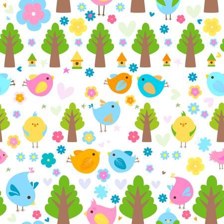 pollitos: la primavera linda pájaros de fondo sin fisuras