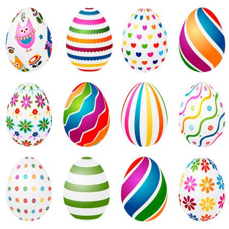 easter decorations: colorful decorated easter eggs