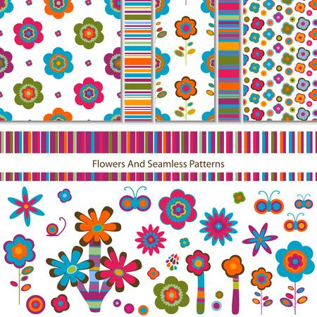flowers and seamless patterns set Stock Vector - 12496376
