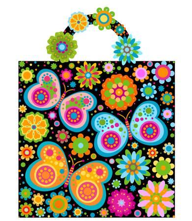 flowers and butterflies bag shape Vector