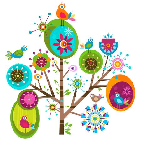 whimsy flower tree and birds Stock Vector - 12496463
