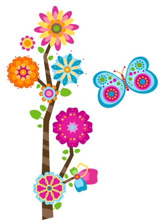 sweet flower tree and butterfly Stock Vector - 12496375