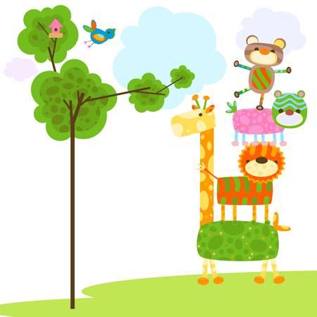 jirafa: animales lindos con los árboles y la jaula del pájaro