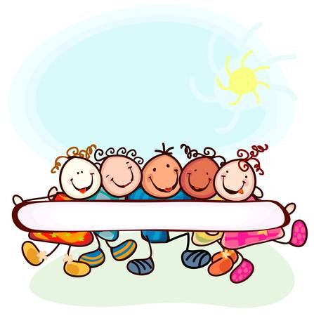 group of funny kids with blank banner Vector