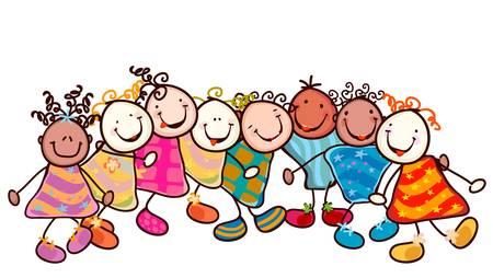 ni�os jugando en la escuela: grupo de ni�os sonrientes con caras graciosas Vectores