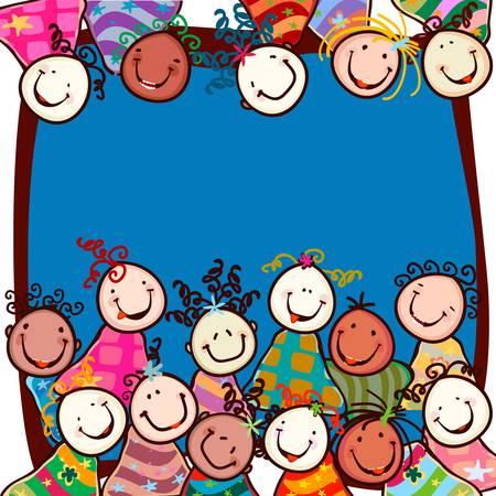 ecole maternelle: enfants heureux avec des visages souriants Illustration