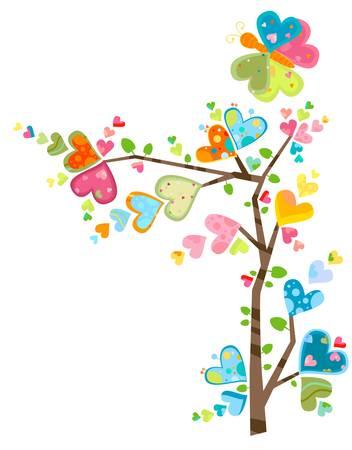 butterflies flying: amore albero Vettoriali
