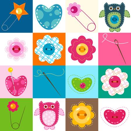 sewing elements; colorful cute background for babies  Vector