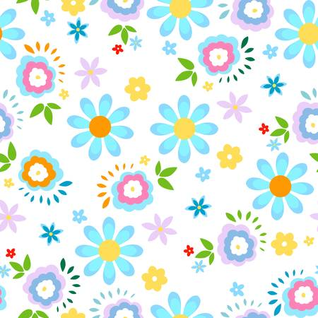 spring flowers seamless background Çizim