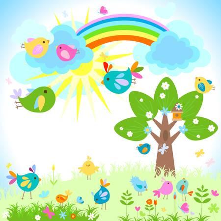 pollitos: primavera brillante con el arco iris Vectores