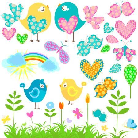 flying birds: spring elements set Illustration