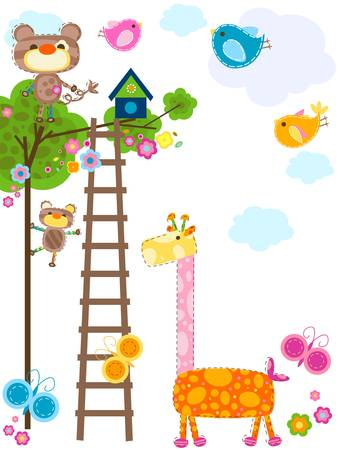 cute animals background  Ilustracja