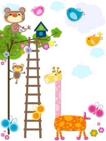 climbing plant: cute animals background  Illustration