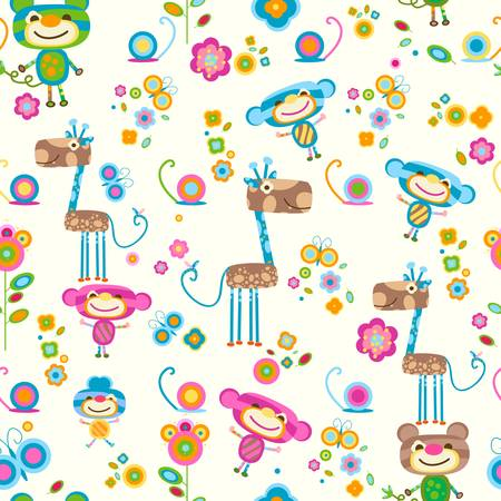 cute animals and flowers background Ilustracja