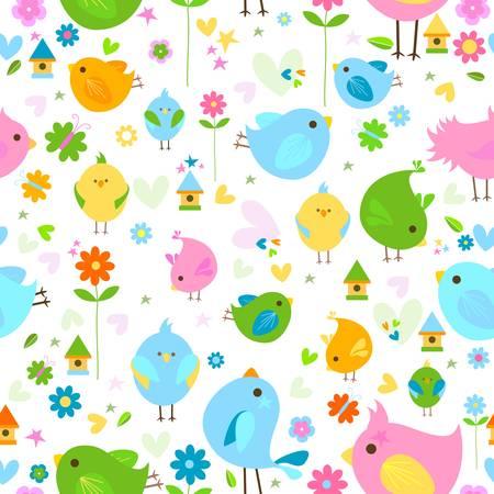 spring cute birds seamless background Vector