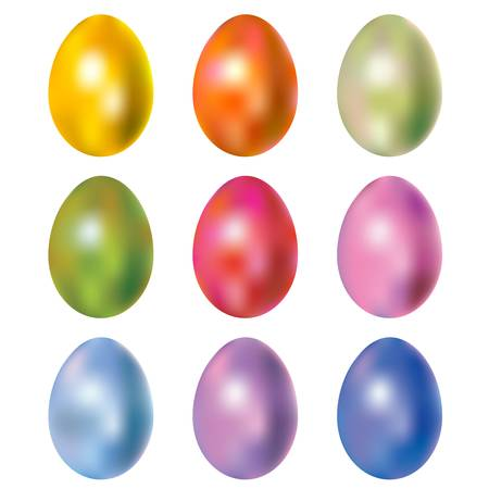 shiny colorful dyed easter eggs Vector