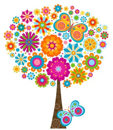 flowers and butterflies tree background Vector