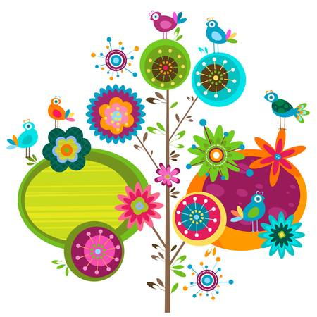 bird: 기발한 꽃 나무와 새