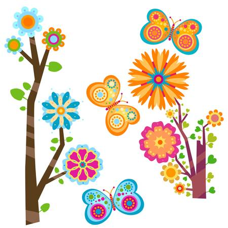 retro circles: sweet floral tree and butterflies Illustration