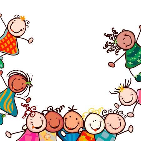niños jugando caricatura: felices los niños