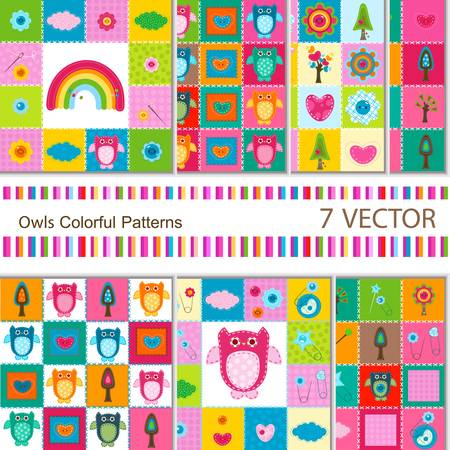 7 vector colorful owls backgrounds for babies Stock Vector - 12659630