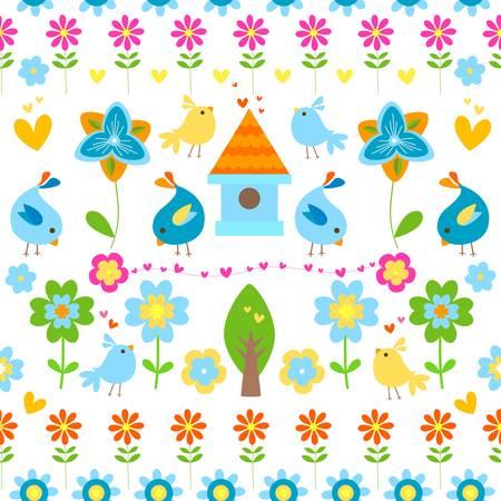 pollitos: la primavera y la Pascua de fondo sin fisuras Vectores