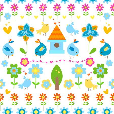 chicks: spring and easter seamless background Illustration