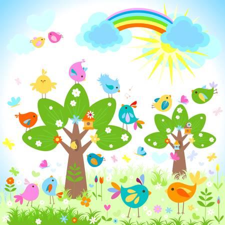 pollitos: brillante de la primavera con el arco iris Vectores