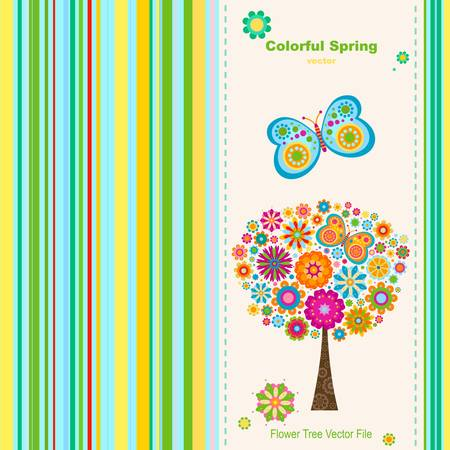 colorful spring, greeting card background  Vector
