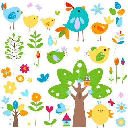 easter chick: spring elements set Illustration