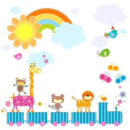 zoo train carrying happy animals in a sunny day Vector
