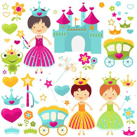 little princess set for girls Ilustracja