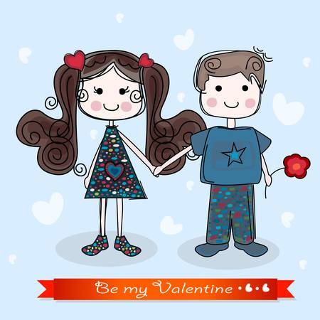 be my valentine card with girl and boy Stock Vector - 17369761