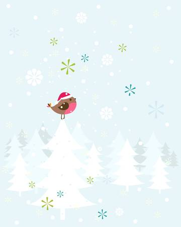 robin christmas bird with santa hat Stock Vector - 17369754