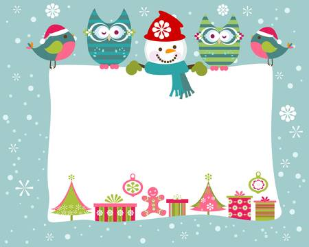 robin bird: christmas and new year greeting card