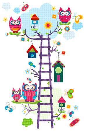 colorful owl s tree in bloom  Ilustracja